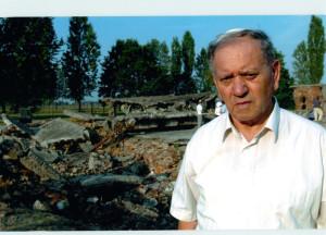 At the ruins of a gas chamber at Birkenau