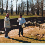 Birkenau - giving a talk outside Gas Chamber & Crematorium 2