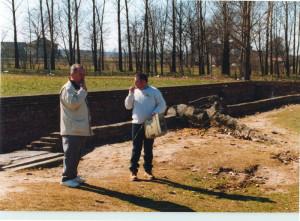 Birkenau - giving a talk outside Gas Chamber & Crematorium 2